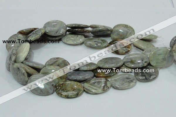 CAB83 15.5 inches 22*30mm oval silver needle agate gemstone beads