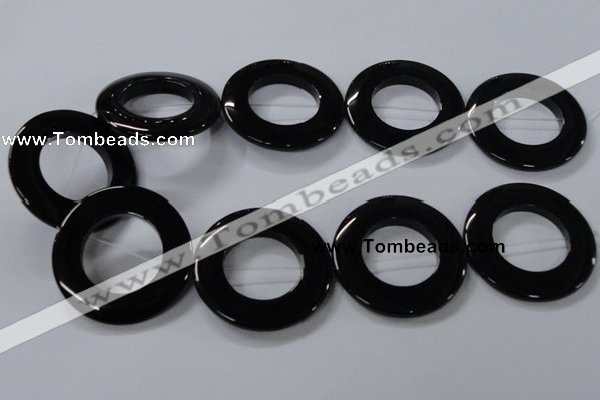CAB858 15.5 inches 45mm donut black agate gemstone beads wholesale