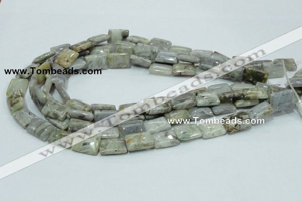 CAB86 15.5 inches 13*18mm rectangle silver needle agate gemstone beads