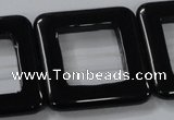 CAB864 15.5 inches 35*35mm square black agate gemstone beads wholesale