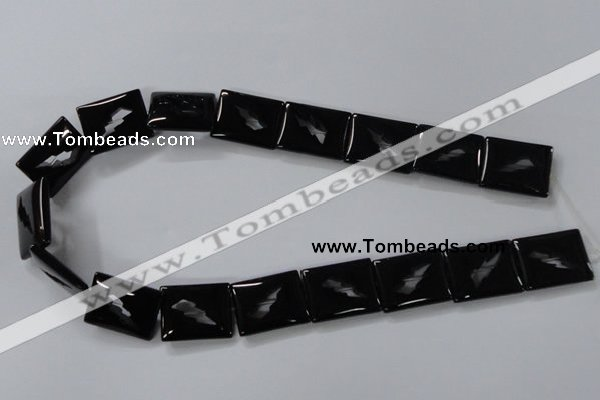 CAB866 15.5 inches 18*22mm rectangle black agate gemstone beads wholesale