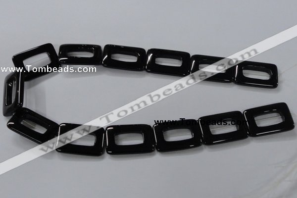 CAB867 15.5 inches 20*30mm rectangle black agate gemstone beads wholesale