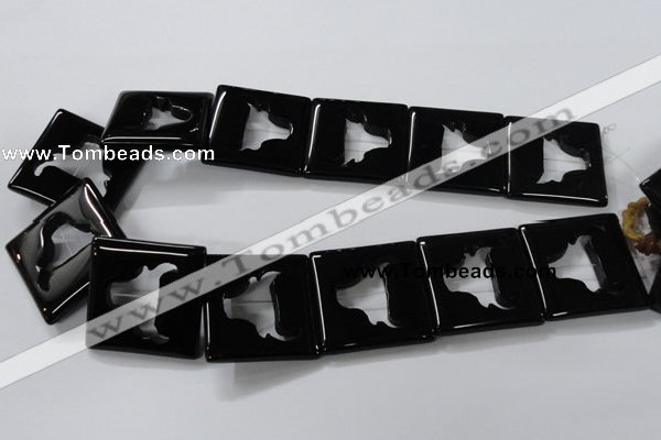 CAB868 15.5 inches 35*35mm square black agate gemstone beads wholesale