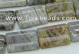 CAB87 15.5 inches 15*20mm rectangle silver needle agate gemstone beads
