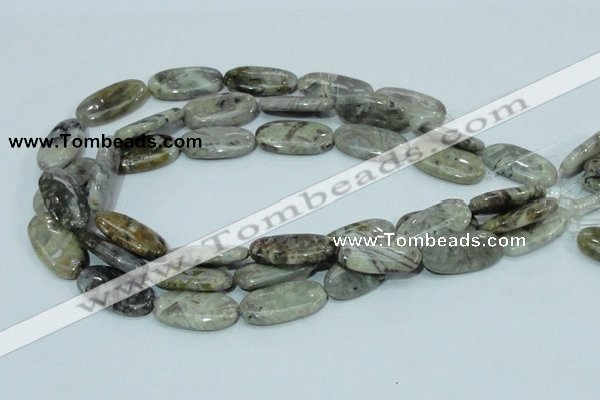 CAB91 15.5 inches 15*30mm oval silver needle agate gemstone beads
