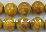 CAB937 15.5 inches 16mm round yellow crazy lace agate beads wholesale