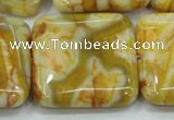 CAB948 15.5 inches 30*30mm square yellow crazy lace agate beads