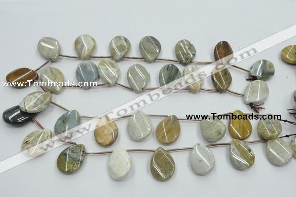 CAB953 18*25mm top-drilled twisted teardrop ocean agate gemstone