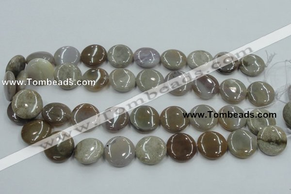CAB955 15.5 inches 20mm flat round ocean agate gemstone beads