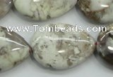 CAB963 15.5 inches 22*30mm flat teardrop ocean agate gemstone beads