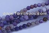 CAB965 15.5 inches 4mm round purple crazy lace agate beads