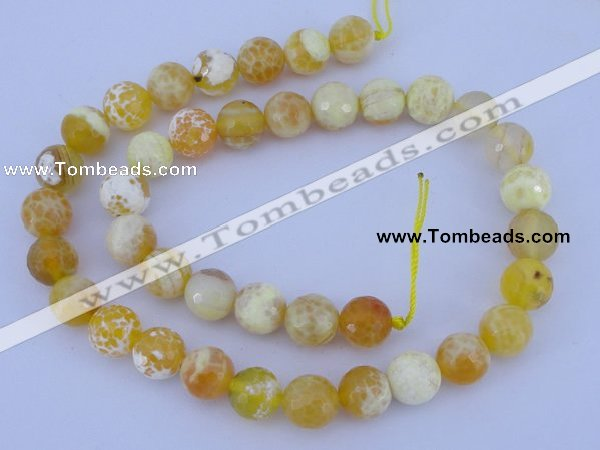 CAB969 15.5 inches 12mm faceted round fire crackle agate beads