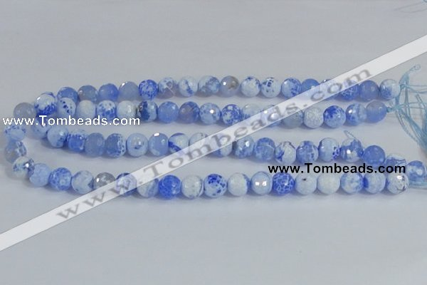 CAB972 15.5 inches 6mm faceted round fire crackle agate beads