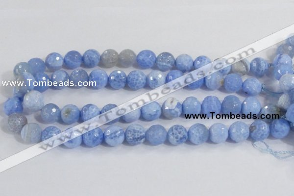 CAB974 15.5 inches 12mm faceted round fire crackle agate beads