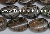 CAF135 15.5 inches 10*14mm twisted oval Africa stone beads
