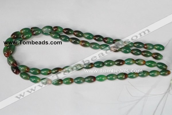 CAG1008 15.5 inches 8*12mm rice rainbow agate beads wholesale