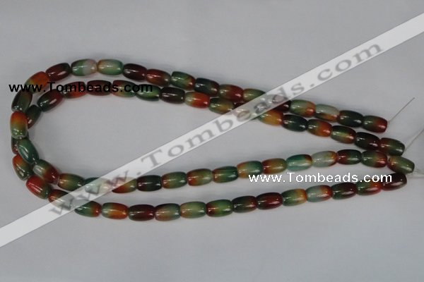 CAG1010 15.5 inches 8*12mm drum rainbow agate beads wholesale