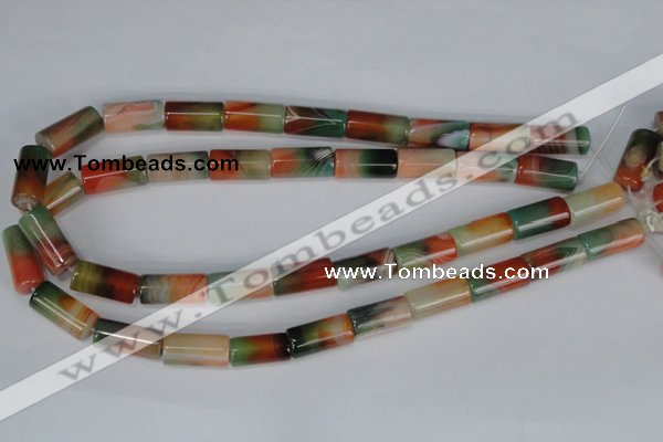 CAG1016 15.5 inches 10*20mm column rainbow agate beads