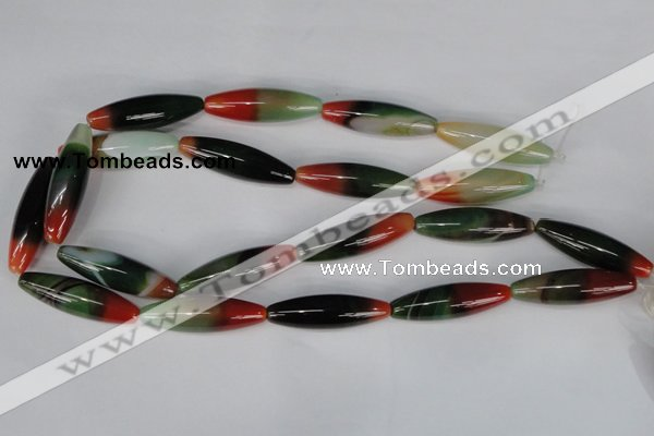 CAG1017 15.5 inches 12*40mm rice rainbow agate beads