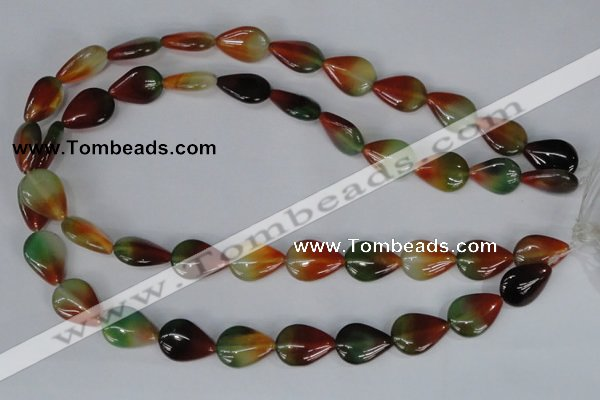 CAG1029 15.5 inches 13*18mm flat teardrop rainbow agate beads