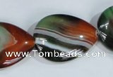 CAG1034 15.5 inches 22*30mm flat teardrop rainbow agate beads