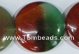 CAG1041 15.5 inches 40mm flat round rainbow agate beads