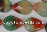 CAG1070 15.5 inches 18*25mm faceted flat teardrop rainbow agate beads