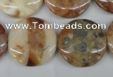 CAG1091 15.5 inches 25mm flat round Morocco agate beads wholesale