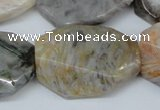 CAG1117 15.5 inches 25*35mm twisted octagonal bamboo leaf agate beads