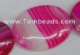 CAG1179 15.5 inches 30*40mm oval line agate gemstone beads