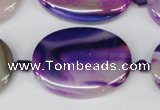 CAG1238 15.5 inches 25*35mm oval line agate gemstone beads