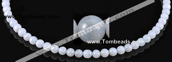 CAG128 6mm smooth round blue lace agate gemstone beads wholesale