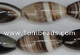 CAG1336 15.5 inches 15*30mm rice line agate gemstone beads