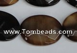 CAG1351 15.5 inches 22*30mm faceted oval line agate gemstone beads