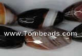 CAG1363 15.5 inches 15*30mm faceted rice line agate gemstone beads