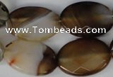 CAG1385 15.5 inches 18*25mm faceted oval line agate gemstone beads