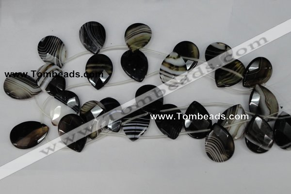 CAG1401 Top-drilled 22*30mm faceted teardrop line agate gemstone beads