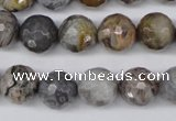 CAG1424 15.5 inches 12mm faceted round silver needle agate beads