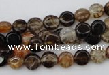 CAG1460 15.5 inches 8mm flat round dragon veins agate beads