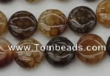 CAG1461 15.5 inches 15mm flat round dragon veins agate beads