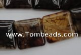 CAG1474 15.5 inches 20*20mm square dragon veins agate beads