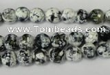 CAG1507 15.5 inches 8mm faceted round fire crackle agate beads