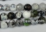 CAG1508 15.5 inches 8mm faceted round fire crackle agate beads