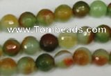 CAG1513 15.5 inches 8mm faceted round fire crackle agate beads