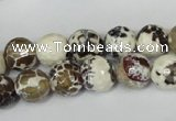 CAG1522 15.5 inches 10mm faceted round fire crackle agate beads