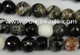 CAG1525 15.5 inches 10mm faceted round fire crackle agate beads