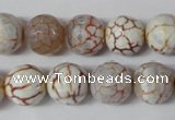 CAG1535 15.5 inches 12mm faceted round fire crackle agate beads