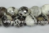 CAG1538 15.5 inches 12mm faceted round fire crackle agate beads
