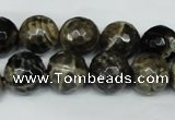 CAG1540 15.5 inches 12mm faceted round fire crackle agate beads