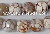 CAG1545 15.5 inches 14mm faceted round fire crackle agate beads